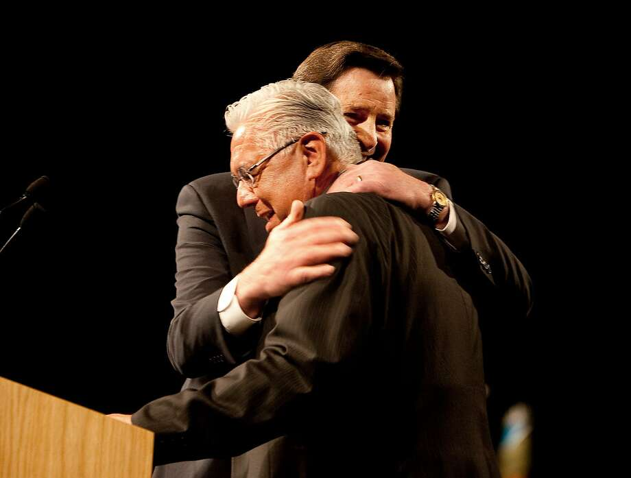 Art Torres, left, gets a hug from John Garamendi at the California Democratic Party convention in April 2009. Photo: Robert Durell, Special To The Chronicle