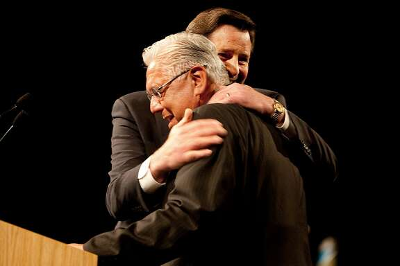 John Garamendi, right, state lieutenant governor, hugs Art Torres, outgoing chairman of the California Democratic Party, after Garamendi spoke at the state convention in Sacramento April 25, 2009. Garamendi may be running for congress.