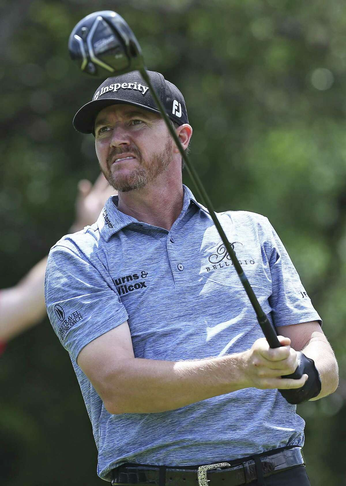 Jimmy Walker follows his drive on 9 during the second round of the Valero Texas Open at TPC San Antonio Oaks Course on April 21, 2017.