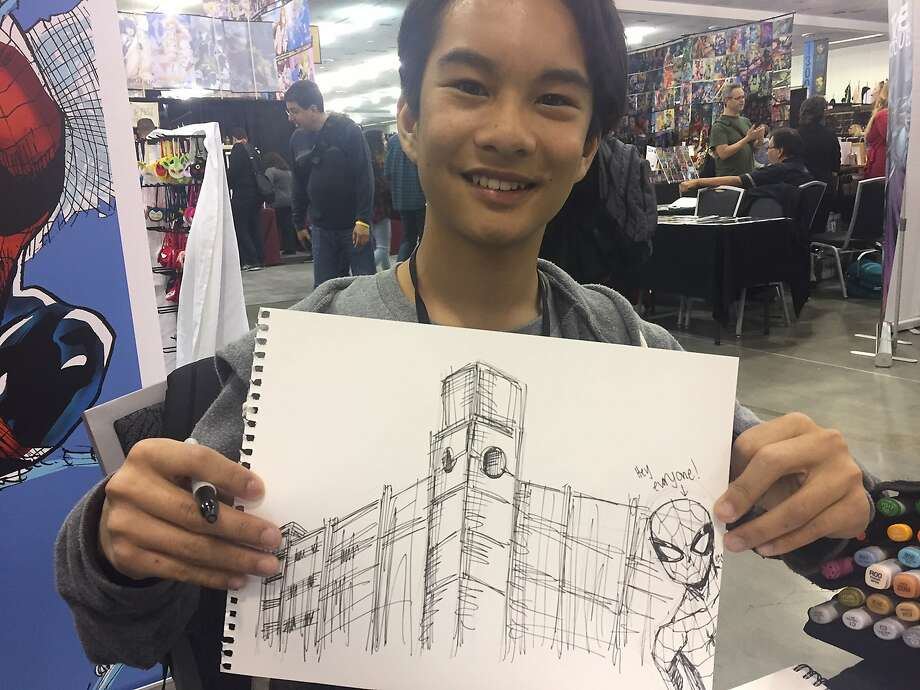 Ethan Castillo, 12, is a comic book artist appearing at Silicon Valley Comic Con. He met with a San Francisco Chronicle reporter on April 21, 2017, and came through on a challenge to draw Spider-Man next to the Chronicle building. Photo: Peter Hartlaub, The Chronicle