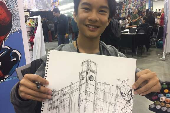 Ethan Castillo, 12, is a comic book artist appearing at Silicon Valley Comic Con. He met with a San Francisco Chronicle reporter on April 21, 2017, and came through on a challenge to draw Spider-Man next to the Chronicle building.