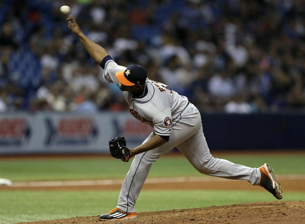 Houston Astros relief pitcher Michael Feliz delivers to the Tampa Bay Rays during a baseball game Friday, April 21, 2017, in St. Petersburg, Fla. (AP Photo/Chris O'Meara)
