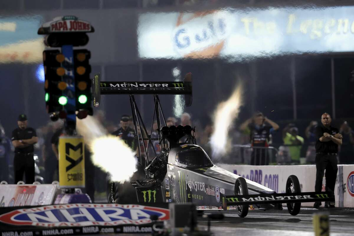 Top Fuel driver Brittany Force qualifies with a time of 3.745 in the second session during the first day qualifying at the 30th annual NHRA Spring Nationals at the Royal Purple Raceway on Friday, April 21, 2017 in Baytown, TX.