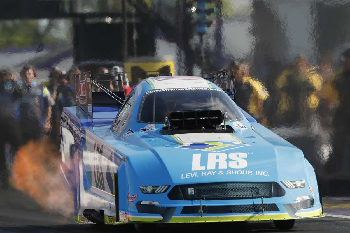 Funny Car driver Tim Wilkerson qualifies with a time of 5.238 in the first session during the first day qualifying at the 30th annual NHRA Spring Nationals at the Royal Purple Raceway on Friday, April 21, 2017 in Baytown, TX.