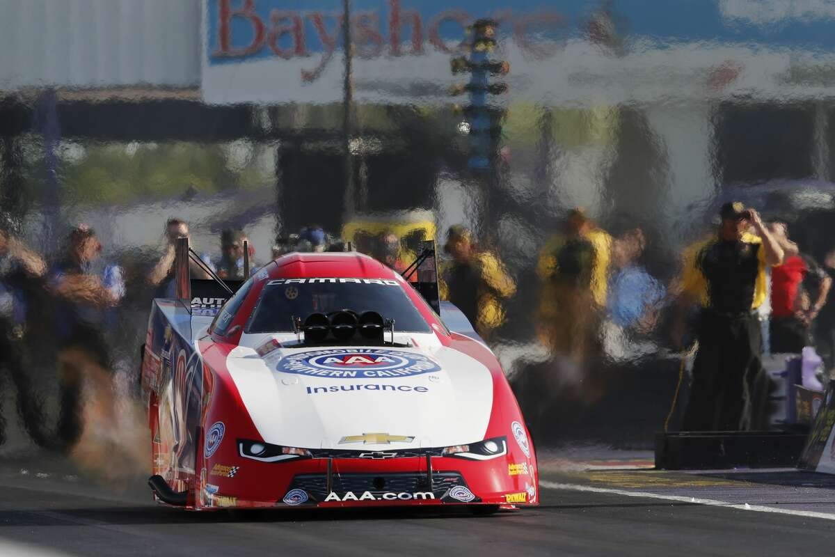 Funny Car driver Robert Hight qualifies with a time of 5.385 in the first session during the first day qualifying at the 30th annual NHRA Spring Nationals at the Royal Purple Raceway on Friday, April 21, 2017 in Baytown, TX.