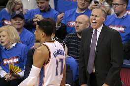 Houston Rockets head coach Mike D'Antoni argues a call during the first quarter of Game 3 of the NBA Western Conference first-round playoff series against the Oklahoma City Thunder at Chesapeake Energy Arena on Friday, April 21, 2017, in Oklahoma City. ( Brett Coomer / Houston Chronicle )