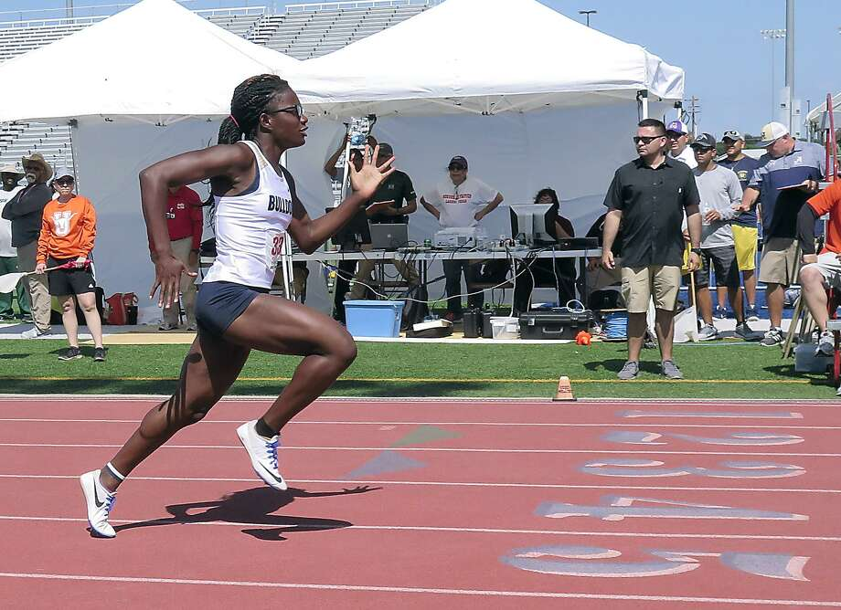 Alexander's Cynthia Emeremnu shined at the Area 29-30 track and field meet on Friday at the SAC winning three events. 40 total athletes from Laredo advanced to the regional meet next week. Photo: Cuate Santos /Laredo Morning Times / Laredo Morning Times