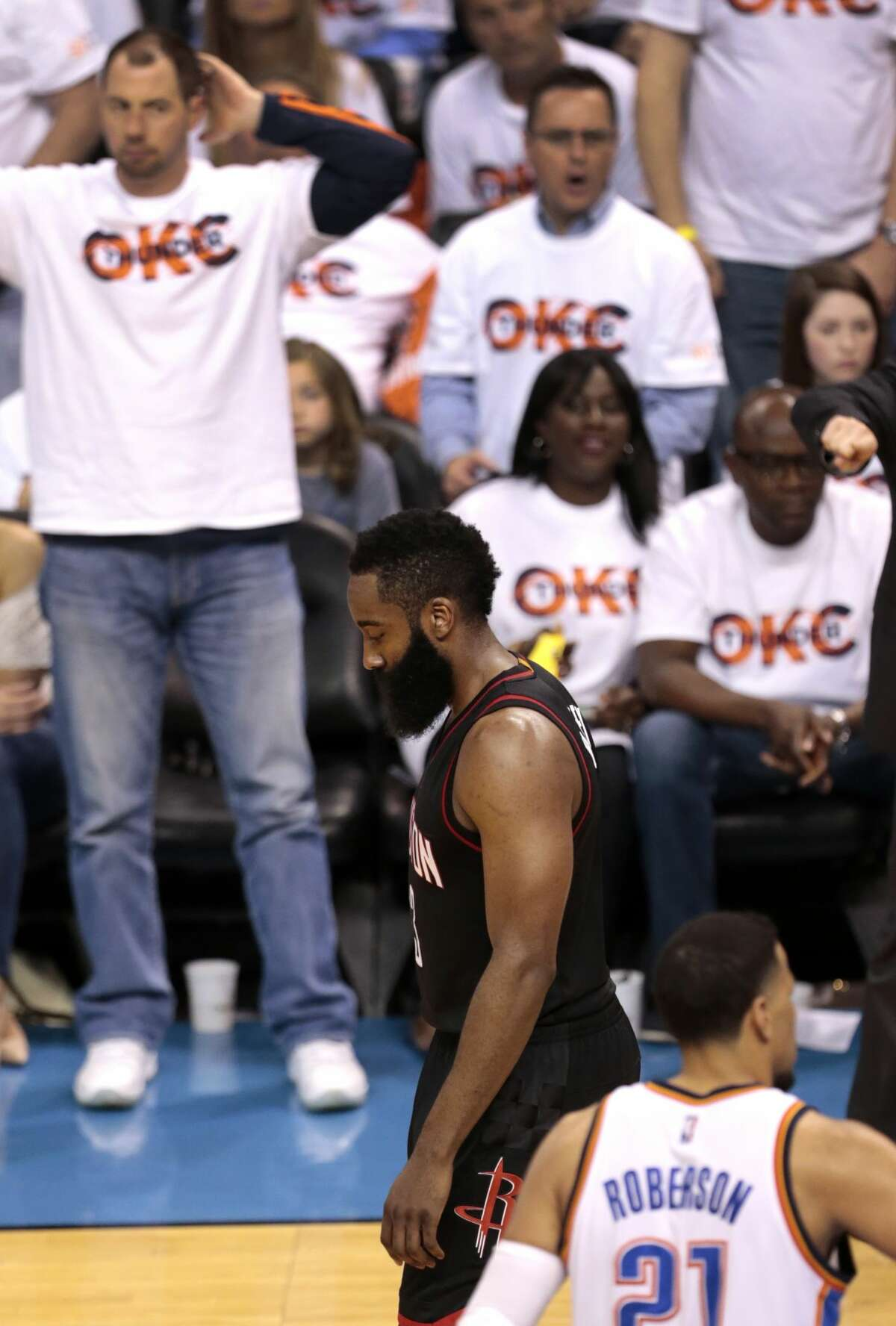 Houston Rockets guard James Harden (13) walks back upcourt after being called for an offensive foul during the fourth quarter against the Oklahoma City Thunder of Game 3 in the NBA Western Conference first-round playoff series at Chesapeake Energy Arena on Friday, April 21, 2017, in Oklahoma City. The Thunder beat the Rockets 115-113. The Rockets lead the best-of-seven series 2-1. ( Brett Coomer / Houston Chronicle )