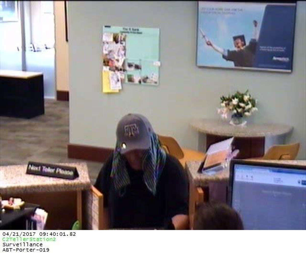 A white male wearing a ball cap and towel around his head reportedly robbed a Porter bank Friday morning. The suspect reportedly fled the scene on a bicycle, which was found discarded nearby.