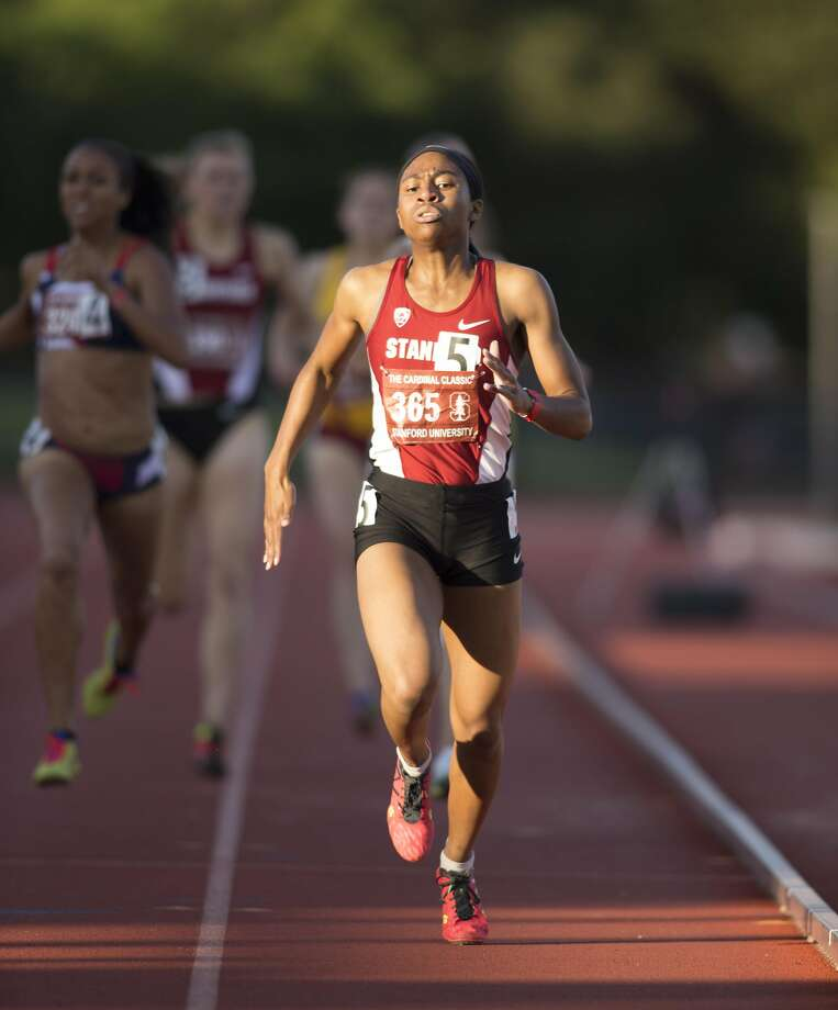 Stanford sprinter Olivia Baker, right, leads the pack to the finish line in a heat of the women's 800 meters, during the Cardinal Classic at Angell Field, Friday, April 21, 2017, in Stanford, Calif. Photo: D. ROSS CAMERON, Special To The Chronicle