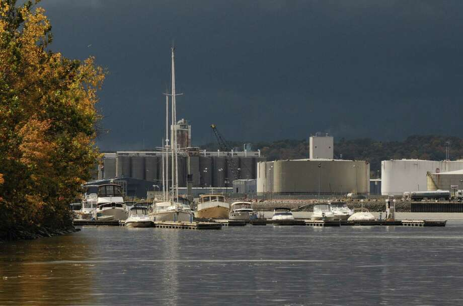 View of boats moored at the Albany Yacht Club in Rensselaer, Friday lunchtime Oct. 14, 2011. Silos at the Port of Albany can be seen in the background. (Will Waldron / Times Union) Photo: Will Waldron, Albany Times Union