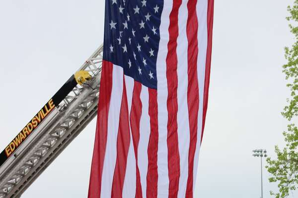 The SIUE campus fire station conducted an official ribbon cutting ceremony this morning. Both Glen Carbon and Edwardsville Fire Departments hung a flag from their fire trucks to celebrate the event.