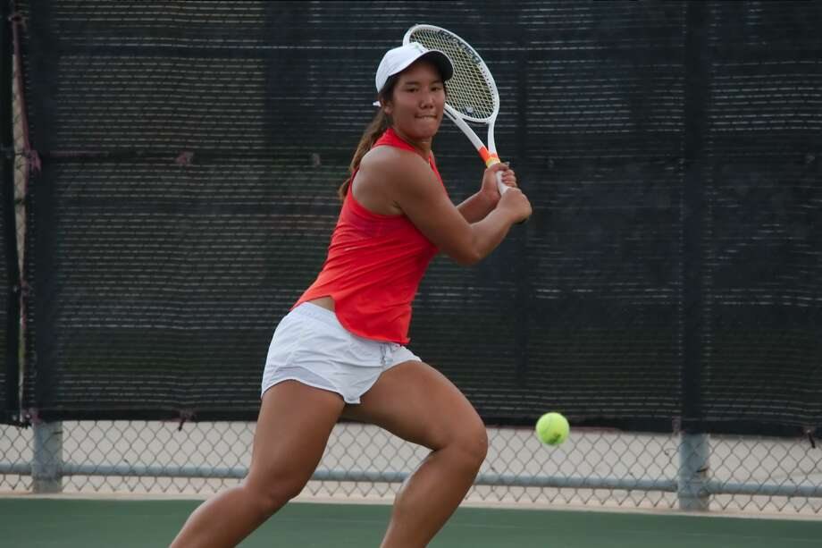 Megan Flores of Clear Lake earned a silver medal at the Region III-6A tennis tournament last week to earn a state tournament berth. Photo: Kirk Sides