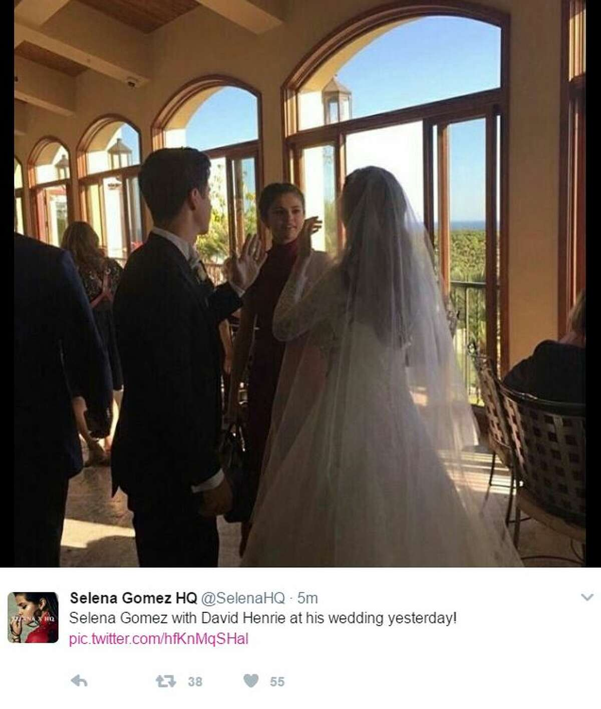 Twitter user @SelenaHQ posted this photo of Selena Gomez attending David Henrie and Maria Cahill's wedding on Friday, April 21, 2017.