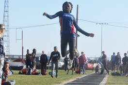 Plainview's Kaizha Roberts soars in the long jump during a meet earlier this season. The three-time state qualifier won the long jump and the 100- and 200-meter dashes at the Area Track Meet at Randall High School Friday.