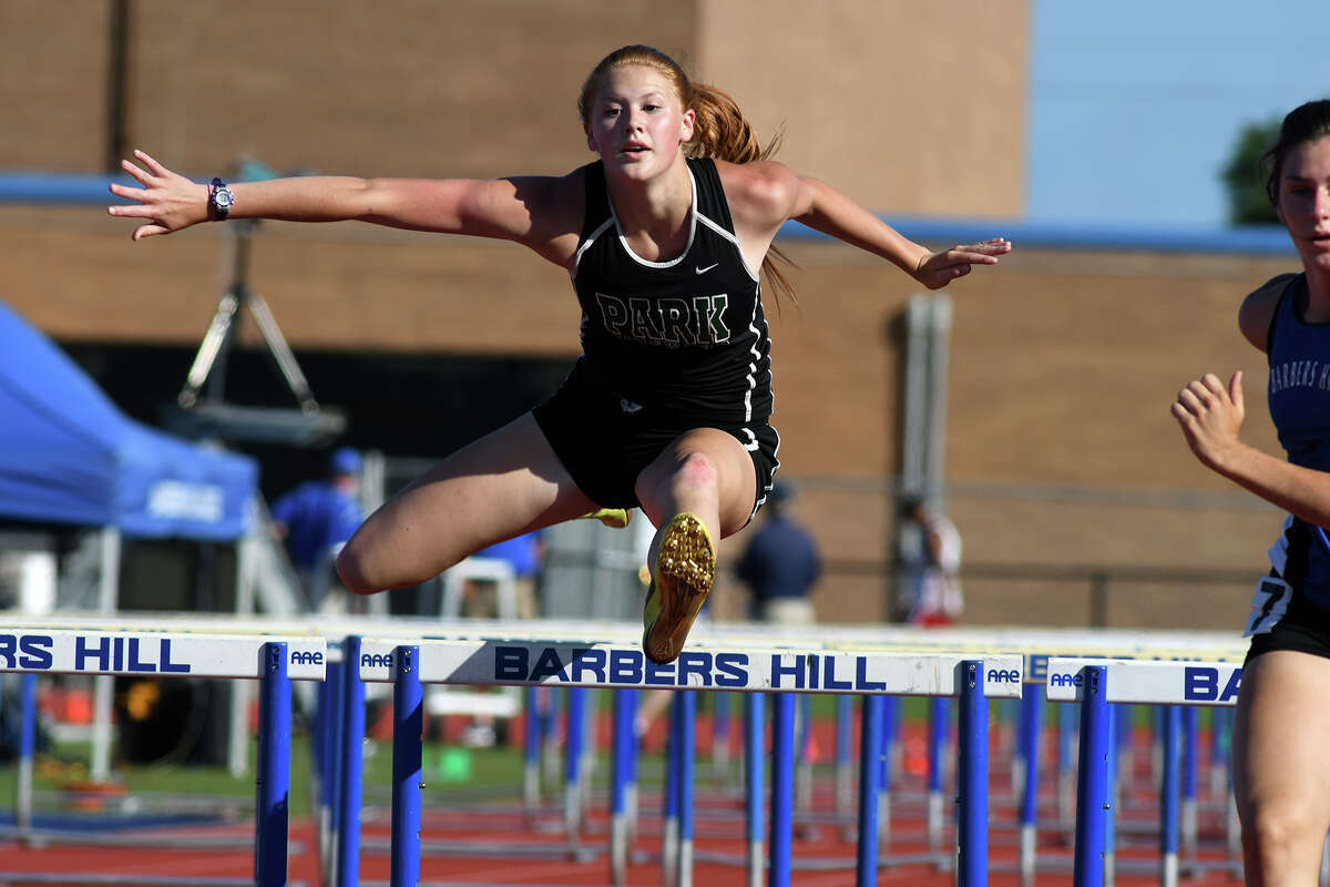 Kingwood Park sophomore Katelyn Searcy competes in the Girls 100 Meter Hurdles at the Area 11-5A Track and Field Championships at Barbers Hill ISD's Eagle Stadium on April 20, 2017. (Photo by Jerry Baker/Freelance)
