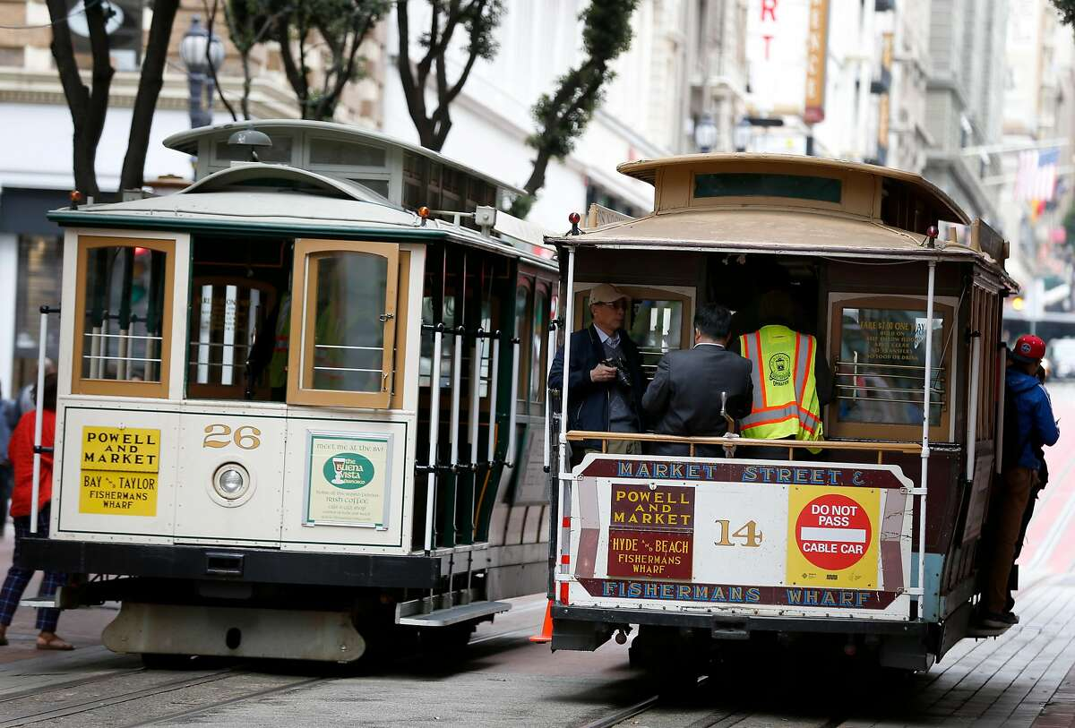 Two cable cars pass each other on Powell street. Cable cars on Powell either go down Mason Street through North Beach, or down Hyde Street, which passes the crooked Lombard Street on its way to Fisherman's Wharf.