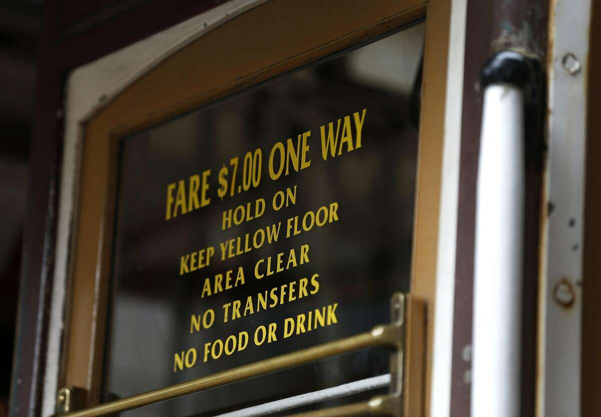 Cable car fares are $7 in San Francisco, Calif. on Saturday, April 22, 2017. Muni may eliminate cash fares on board the world famous cable cars after a brakeman was accused of stealing the fares.