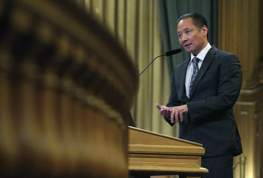 Public Defender Jeff Adachi speaks at a meeting of the Budget and Finance Sub-Committee at City Hall in San Francisco last month. Photo: Paul Chinn / Paul Chinn / The Chronicle / ONLINE_YES