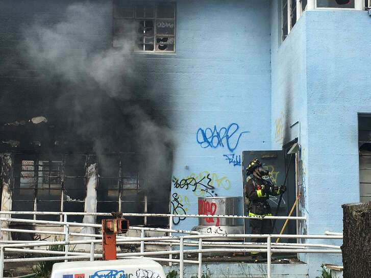 A firefighter was injured Saturday in an a fire that broke out at a vacant commercial building in San Francisco.