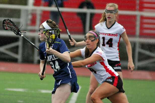 Warde's Courtney Scheetz, right, defends Staples' Kyle Kirby during a game on Saturday.