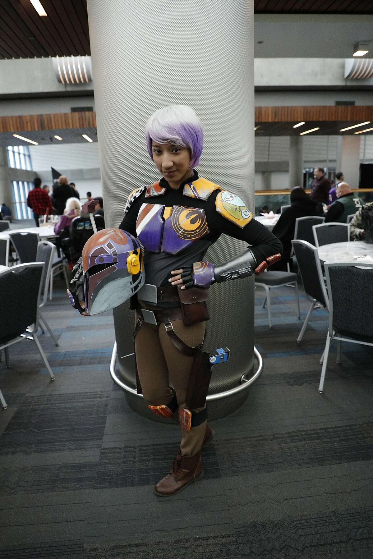 Sabrine Wren in her hand painted costume at Silicon Valley Comic Con on Saturday, April 22, 2017 in San Jose , CA.