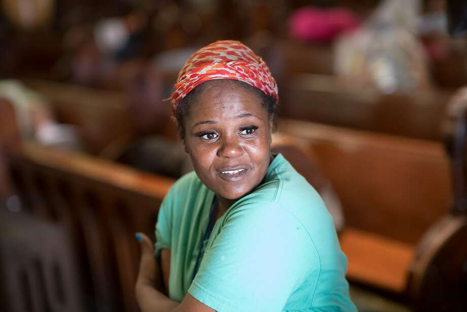 Porsha Dixson works as a hospitality monitor at St. Boniface, where Project Gubbio enables the homeless to sleep. Photo: Noah Berger, Special To The Chronicle