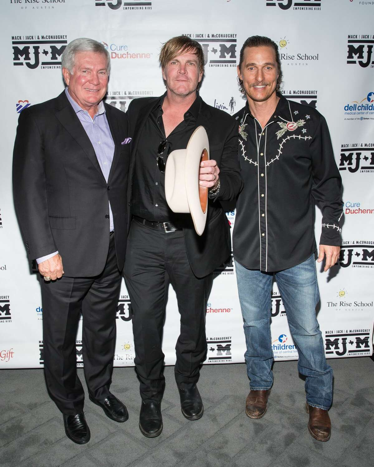 (L-R) ESPN analyst and legendary football coach Mack Brown, ACM award winning recording artist Jack Ingram, and Academy Award-winning actor Matthew McConaughey attend the 5th annual Mack, Jack & McConaughey Gala at ACL Live on April 20, 2017 in Austin, Texas. Keep clicking to see more photos from the music-filled, two-day Mack, Jack & McConaughey benefit.