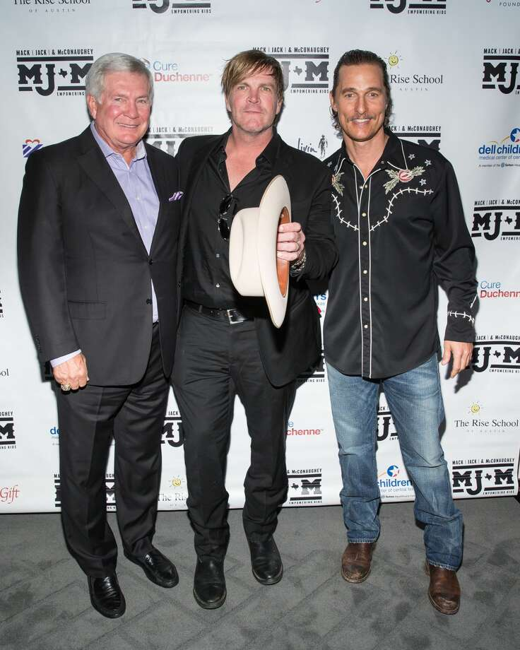(L-R) ESPN analyst and legendary football coach Mack Brown, ACM award winning recording artist Jack Ingram, and Academy Award-winning actor Matthew McConaughey attend the 5th annual Mack, Jack & McConaughey Gala at ACL Live on April 20, 2017 in Austin, Texas.Keep clicking to see more photos from the music-filled, two-day Mack, Jack & McConaughey benefit.  Photo: SUZANNE CORDEIRO/AFP/Getty Images