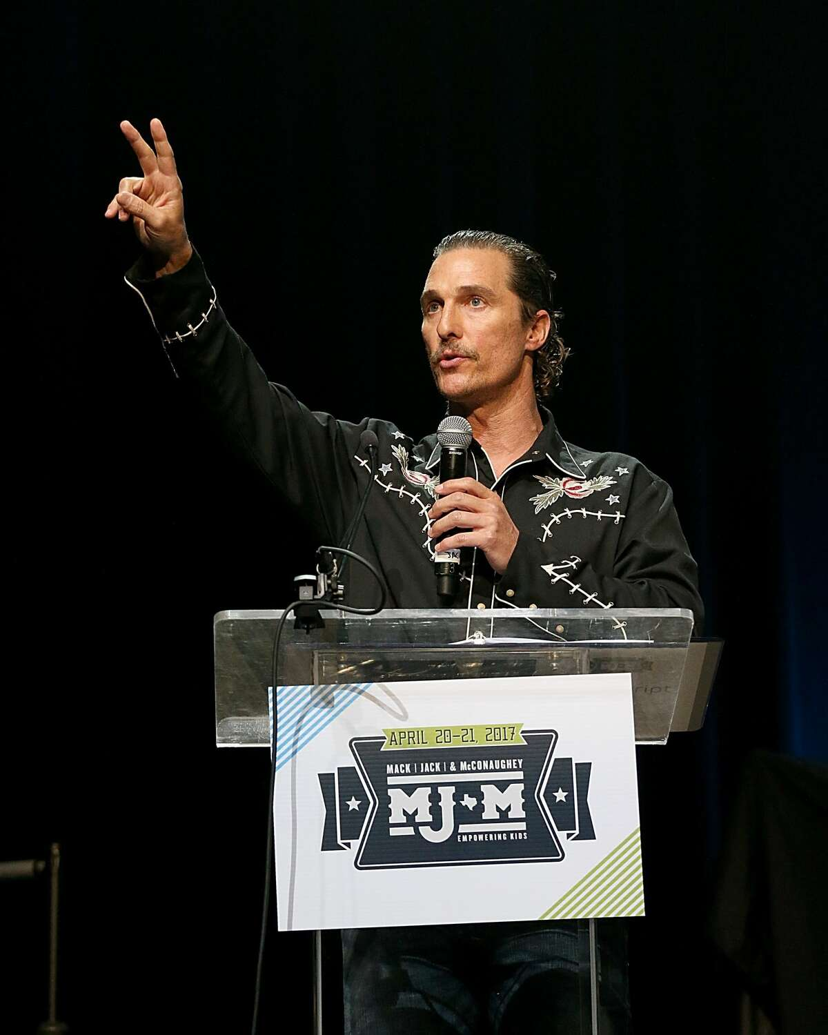 Matthew McConaughey speaks onstage during the Mack, Jack & McConaughey Gala benefit at ACL-Live on April 20, 2017 in Austin, Texas.