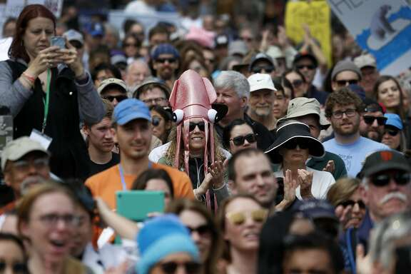 Thousands of people crowd into Justin Herman Plaza for a rally before the March for Science on Market Street in San Francisco, Calif. on Saturday, April 22, 2017.