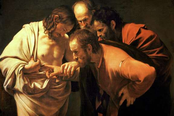 """The Incredulity of Saint Thomas"" byMichelangelo Merisi da Caravaggio"