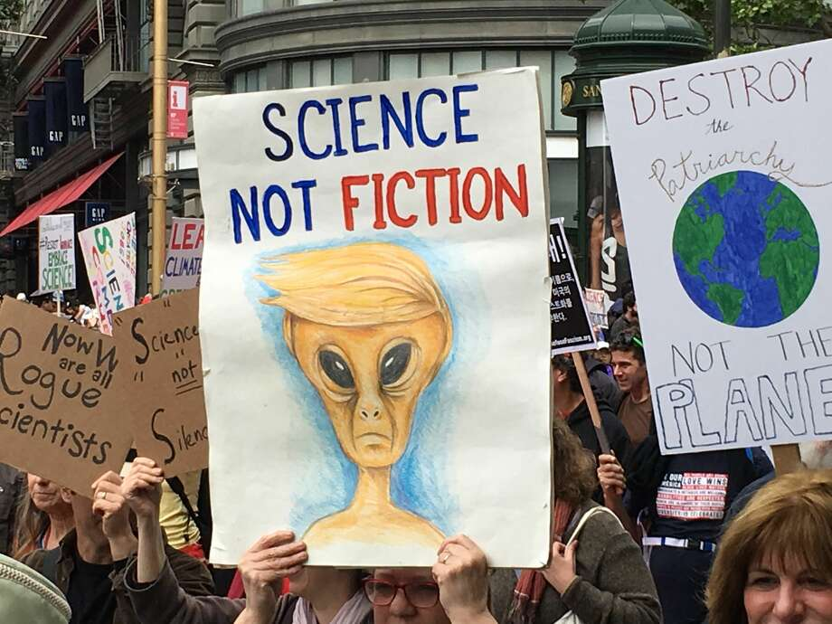 Signs from the March for Science in San Francisco on Saturday, April 22.  Photo: Michelle Robertson/SFGATE