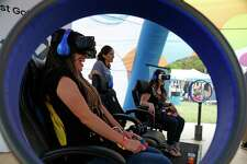 Audrey Gutierrez experienced virtual reality at one of the exhibits at  the annual Taste of New Orleans at the Sunken Garden.  This two-day Fiesta event organized by the San Antonio Zulu Association celebrates all things cajun, from food to music on Saturday, April 22, 2017.
