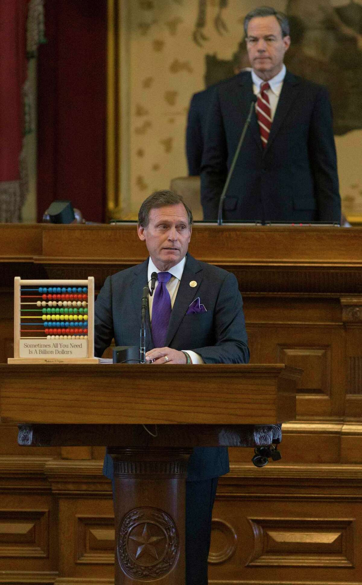 House Appropriations Committee chairman Rep. John Zerwas, left, speaks on the floor during a House session to pass a budget for the next two years at the Texas Capitol in Austin, Thursday, April 6, 2017. House Speaker Joe Straus watches from the dais. (Stephen Spillman / for Express-News)