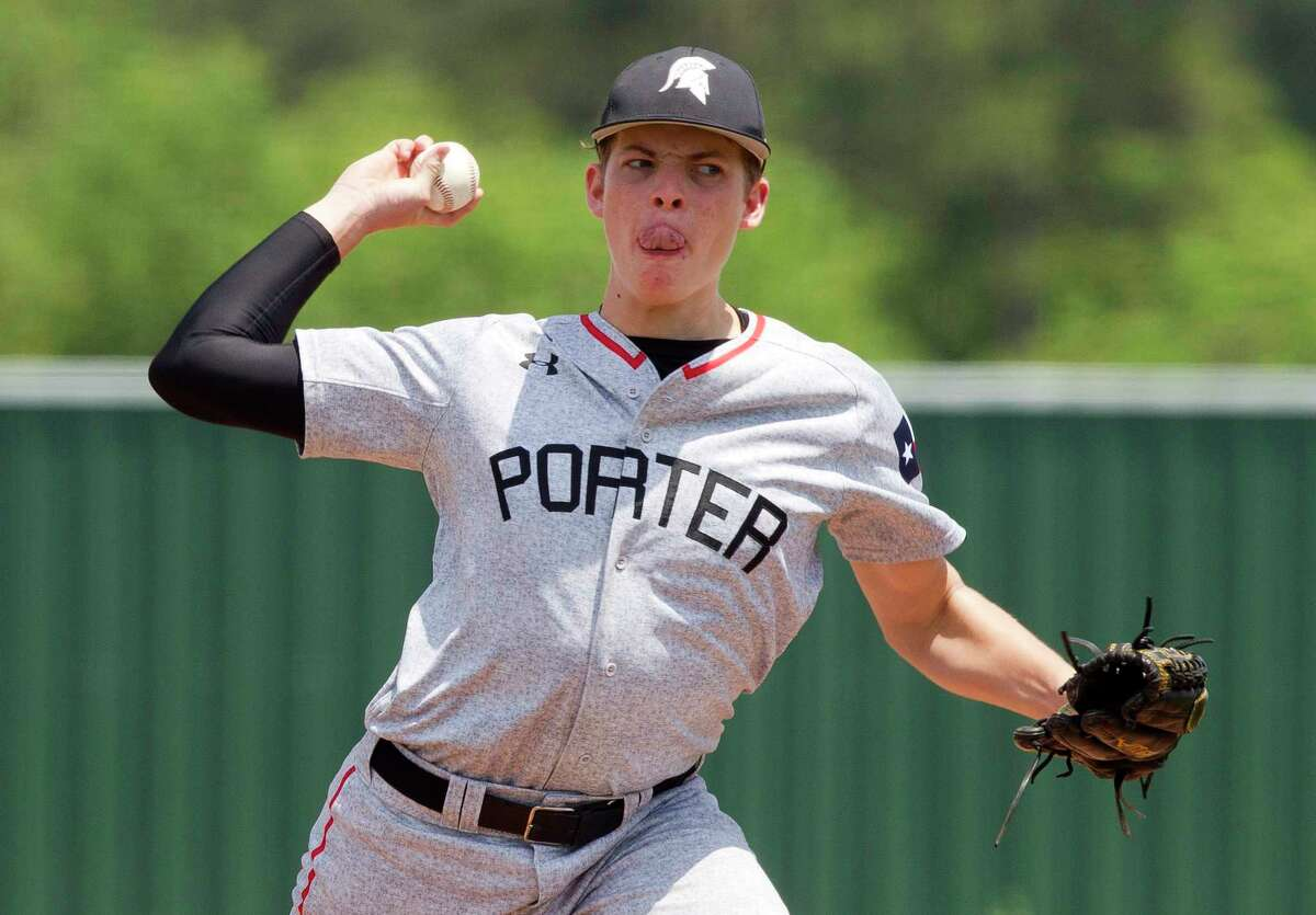 Porter starting pitcher Tyler Baker (6) throws during the second inning of a District 21-5A high school baseball game, Saturday, April 22, 2017, in Humble. Porter defeated Humble 10-2.