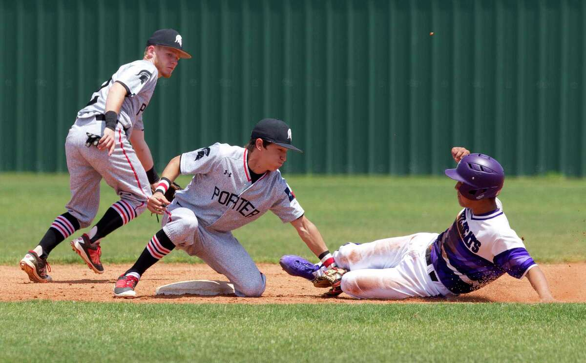 Porter second baseman Jake Miertschin (4) tags out Anthony Villareal #2 of Humble trying to steal second during the second inning of a District 21-5A high school baseball game, Saturday, April 22, 2017, in Humble. Porter defeated Humble 10-2.