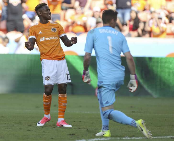 Houston Dynamo forward Romell Quioto (12) reacts to not making a goal during the second half of the game at BBVA Compass Stadium Saturday, April 22, 2017, in Houston. The Dynamo defeated the Earthquakes 2-0. ( Yi-Chin Lee / Houston Chronicle )