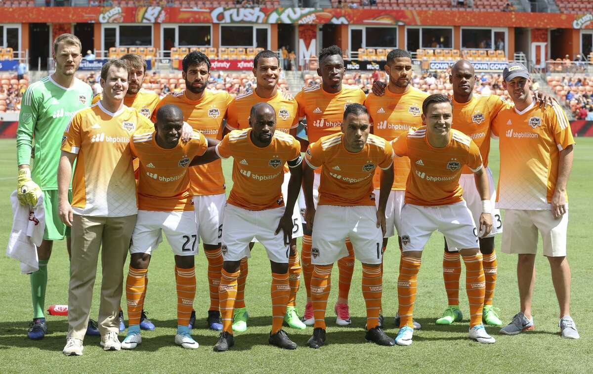 The starting lineup of Houston Dynamo the game against San Jose Earthquakes at BBVA Compass Stadium Saturday, April 22, 2017, in Houston. ( Yi-Chin Lee / Houston Chronicle )