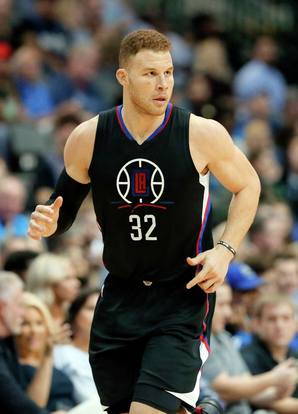 Los Angeles Clippers' Blake Griffin (32) jogs up court during an NBA basketball game against the Dallas Mavericks in Dallas, Thursday, March 23, 2017. (AP Photo/Tony Gutierrez)