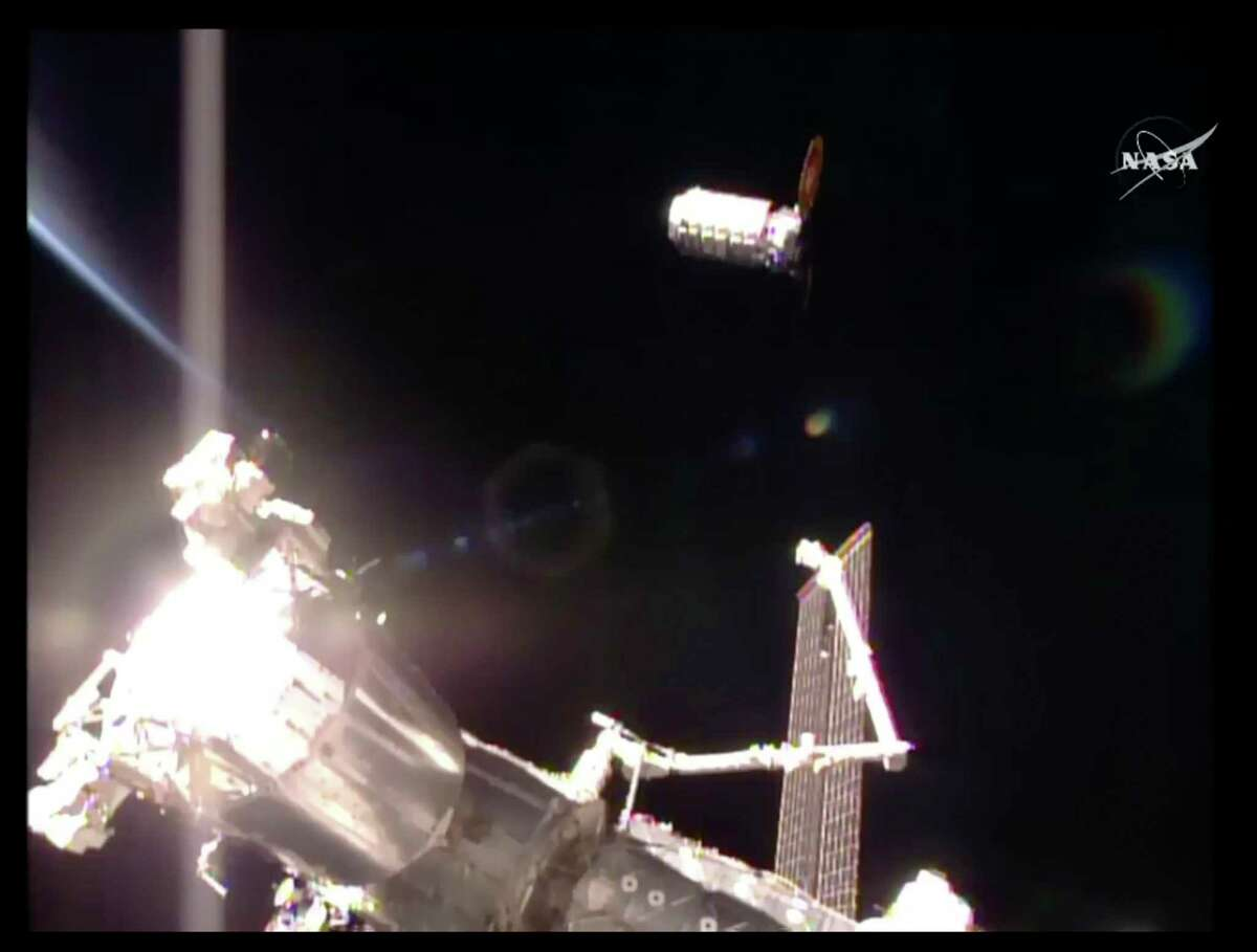 The S.S. John Glenn cargo ship prepares to dock with the International Space Station on Saturday.
