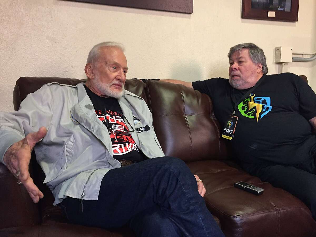 Astronaut Buzz Aldrin speaks with Apple co-founder Steve Wozniak backstage at the City National Civic arena during his April 22, 2017, visit to the Silicon Valley Comic Con in San Jose.