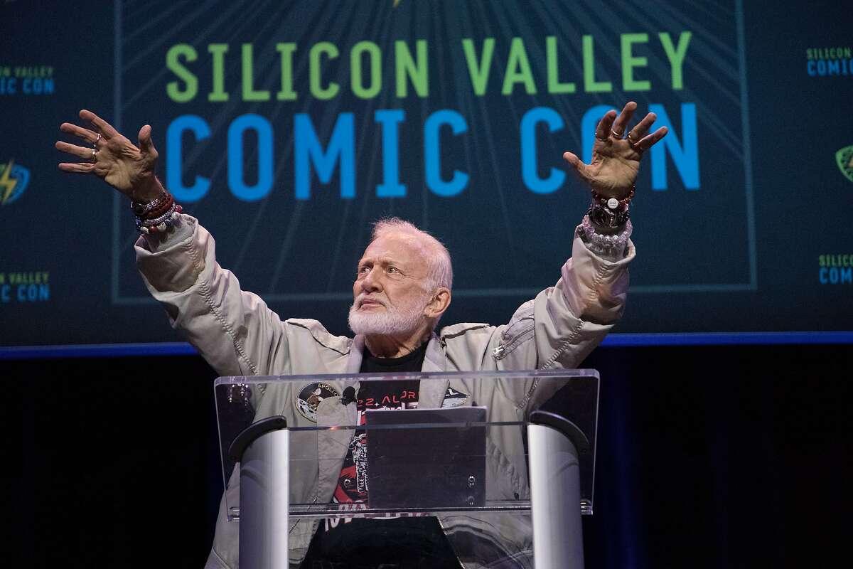 Astronaut Buzz Aldrin, the second man to walk on the moon, speaks at Santa Clara Comic Con on Saturday, April 22, 2017 in San Jose , CA.