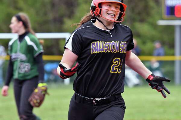 Ballston Spa's #28 Sarah Pritchard rounds the bases after her two-run homer in their game against Shenendehowa High Saturday April 22, 2017 in Ballston Spa, NY.  (John Carl D'Annibale / Times Union)