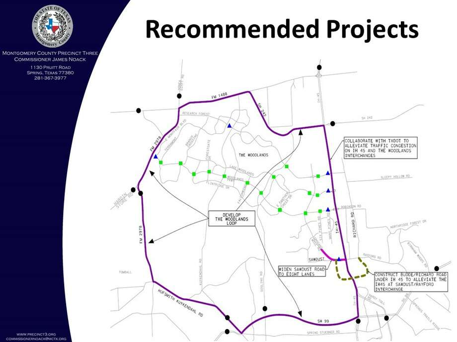Brown & Gay Engineers, which was commissioned by the Montgomery County Precinct 3 Commissioner's Office and Woodlands Road Utility District No. 1 to conduct an origin-destination traffic study of vehicles traveling in and around The Woodlands, has recommended a loop concept to help divert traffic from cutting through The Woodlands. Photo: Montgomery County Precinct 3 Commissioner's Office