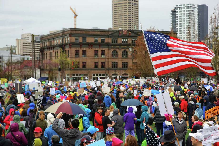 Thousands of demonstrators participate in the March for Science, which traveled through downtown Seattle from Cal Anderson Park to Seattle Center, April 22, 2017. People in cities around the world spent the day rallying in support of science, truth and facts. Photo: GENNA MARTIN, SEATTLEPI.COM / SEATTLEPI.COM