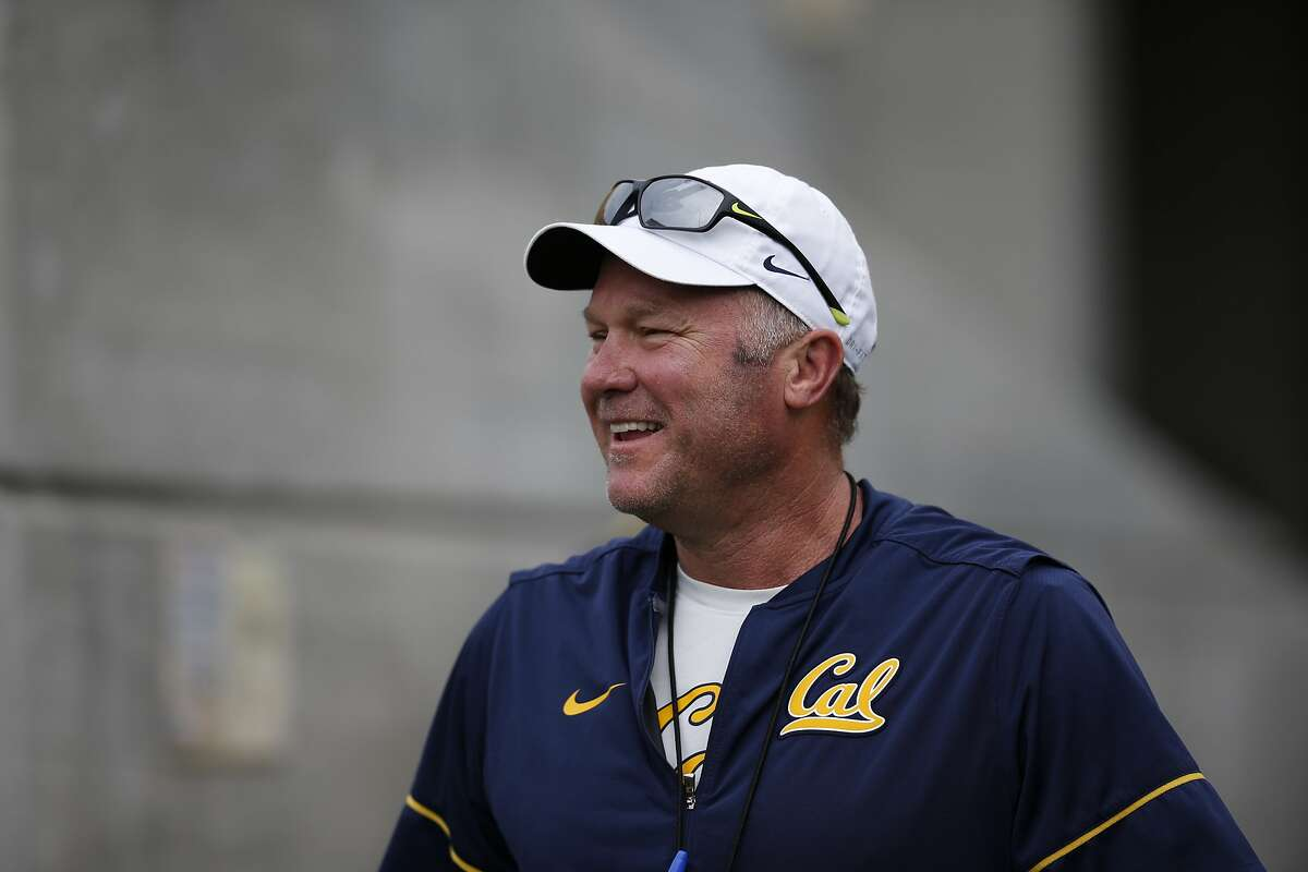Cal�s defensive coordinator Tim DeRuyter talks to the Cal Staff prior to the Cal Football Spring Game on Saturday April 22, 2017 in Berkeley, Calif.