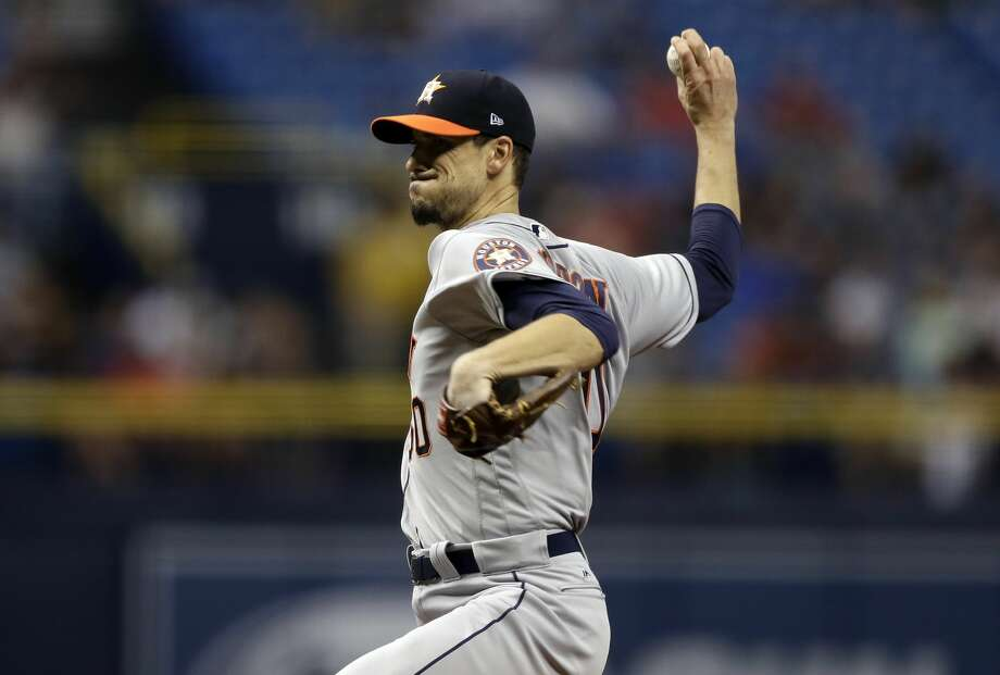Houston Astros starting pitcher Charlie Morton during the first inning of a baseball game against the Tampa Bay Rays Saturday, April 22, 2017, in St. Petersburg, Fla. (AP Photo/Chris O'Meara) Photo: Chris O'Meara/Associated Press