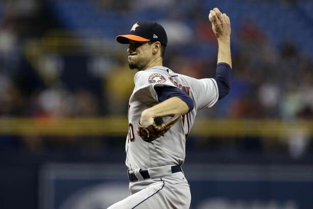 Houston Astros starting pitcher Charlie Morton during the first inning of a baseball game against the Tampa Bay Rays Saturday, April 22, 2017, in St. Petersburg, Fla. (AP Photo/Chris O'Meara)