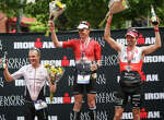 From the left: Tyler Butterfield, of Bermuda, Matt Hanson, of Iowa, and Ronnie Schildknecht, of Switzerland, celebrate at the podium during the Memorial Hermann IRONMAN North American Championship Texas on Saturday, April 22, 2017, in The Woodlands.